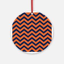 Chevron Pattern: Orange & Navy Blue Round Ornament