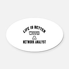 Network Analyst Designs Oval Car Magnet