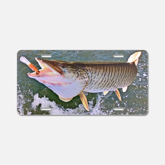 Fish on musky Aluminum License Plate