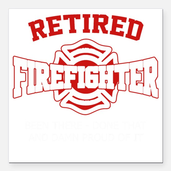 "Cute Firefighter Square Car Magnet 3"" x 3"""
