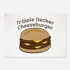 Tripple Decker Burger 5'x7'Area Rug