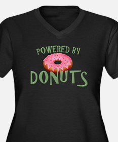 Powered By Donuts Women's Plus Size V-Neck Dark T-