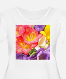 Colorful Flowers Plus Size T-Shirt