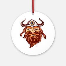 Viking Warrior Head Angry Isolated Retro Round Orn