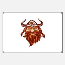 Viking Warrior Head Angry Isolated Retro Banner