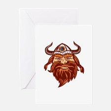 Viking Warrior Head Angry Isolated Retro Greeting