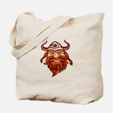 Viking Warrior Head Angry Isolated Retro Tote Bag