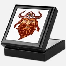 Viking Warrior Head Angry Isolated Retro Keepsake