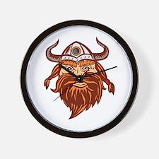 Viking Warrior Head Angry Isolated Retro Wall Cloc