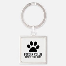 Border Collie Simply The Best Square Keychain