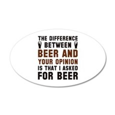 Beer And Your Opinion 22x14 Oval Wall Peel
