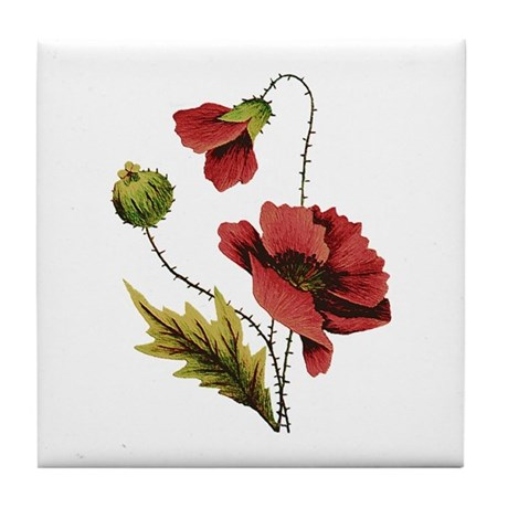 FAUX EMBROIDERED POPPY Tile Coaster
