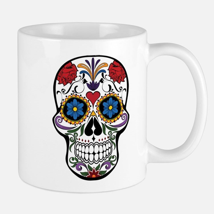 Colorful Floral Sugar Skull Mugs