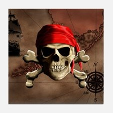 The Jolly Roger Pirate Map Tile Coaster