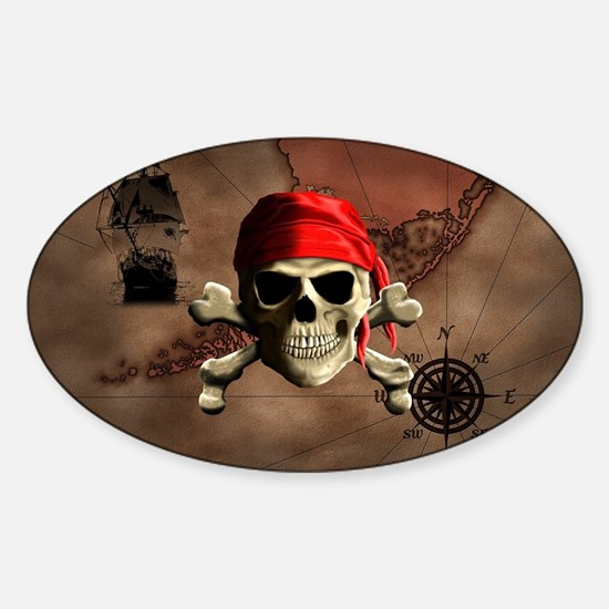 The Jolly Roger Pirate Map Decal