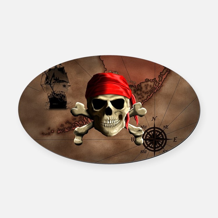 The Jolly Roger Pirate Map Oval Car Magnet