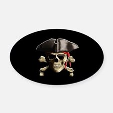 The Jolly Roger Pirate Skull Oval Car Magnet