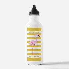 Yellow White Stripes C Sports Water Bottle