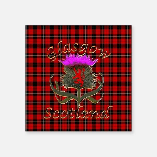 Glasgow Scotland red tartan thistle Sticker