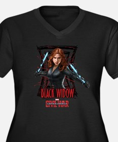 Black Widow Women's Plus Size V-Neck Dark T-Shirt
