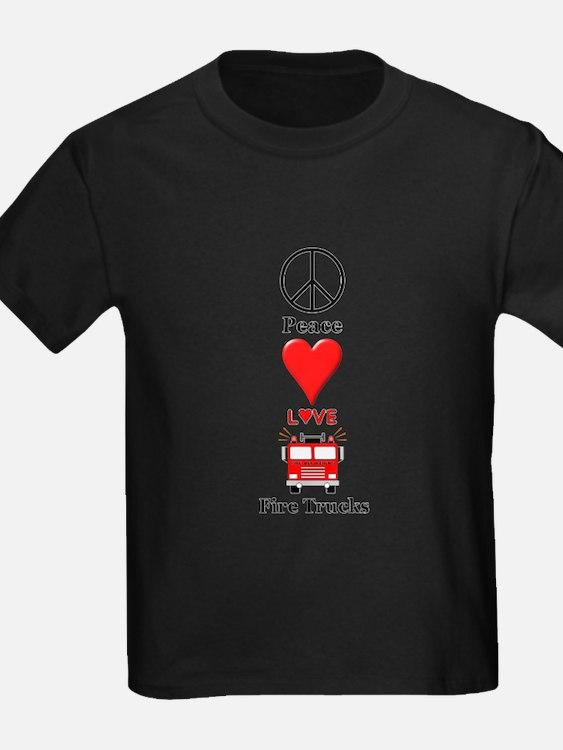 Peace Love Fire Trucks T-Shirt