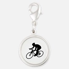 Cycling race Silver Round Charm