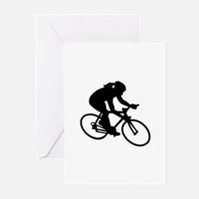 Cycling woman girl Greeting Cards (Pk of 20)