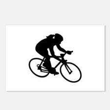 Cycling woman girl Postcards (Package of 8)