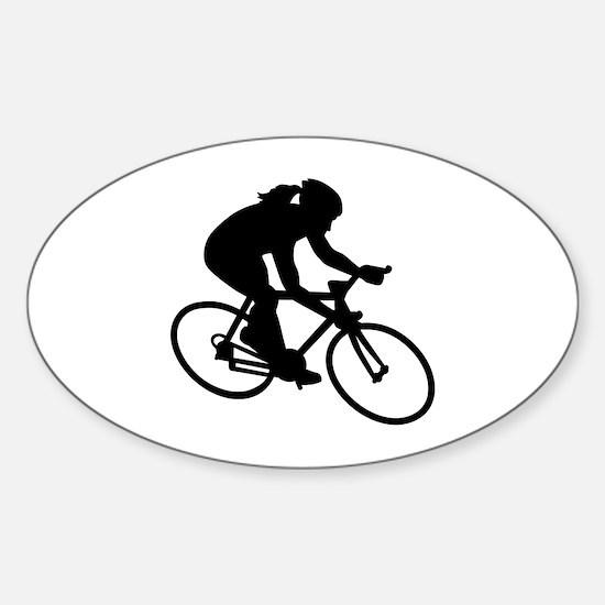 Cycling woman girl Sticker (Oval)