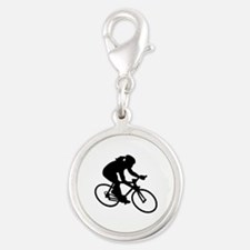 Cycling woman girl Silver Round Charm