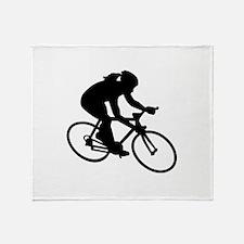Cycling woman girl Throw Blanket