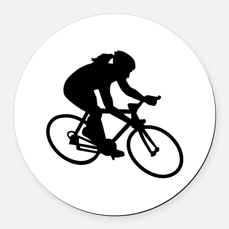 Cycling woman girl Round Car Magnet