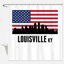 Louisville KY American Flag Shower Curtain