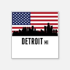 Detroit MI American Flag Sticker