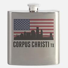 Corpus Christi TX American Flag Flask