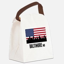 Baltimore MD American Flag Canvas Lunch Bag