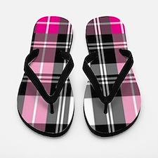 pink & black plaid Flip Flops