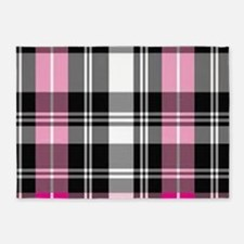 pink & black plaid 5'x7'Area Rug