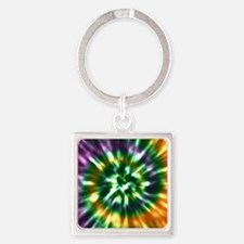 Multi Color Tie Dye - Green, Yello Square Keychain