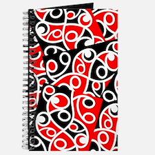 Layered Red And Black Maori Kowhaiwhai Pat Journal