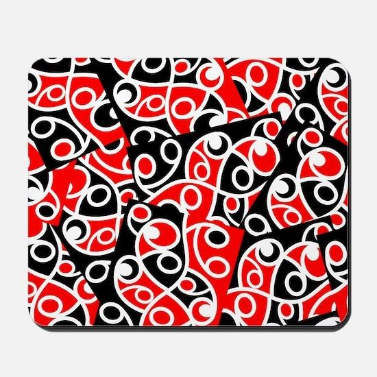 Layered Red And Black Maori Kowhaiwhai P Mousepad