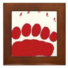 Bear Grizzly Track Framed Tile