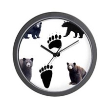 Black Bears and Tracks Wall Clock