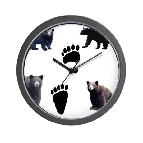 Black Bears and Tracks Wall Clock