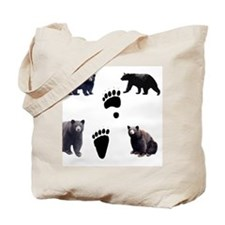 Black Bears and Tracks Tote Bag
