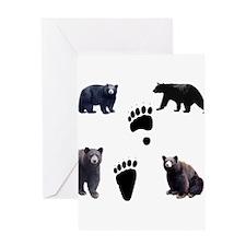Black Bears and Tracks Greeting Card