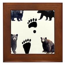 Black Bears and Tracks Framed Tile