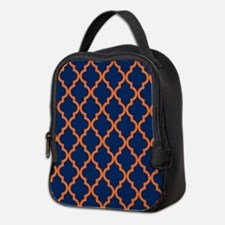 Moroccan Pattern: Orange & Navy Neoprene Lunch Bag