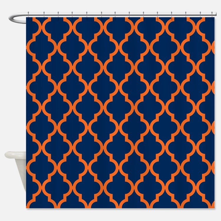 Navy Blue And Orange Shower Curtains Navy Blue And Orange Fabric Shower Cur