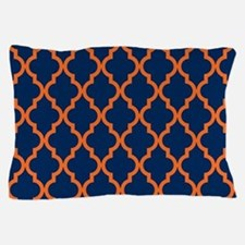 Moroccan Pattern: Orange & Navy Blue Pillow Case